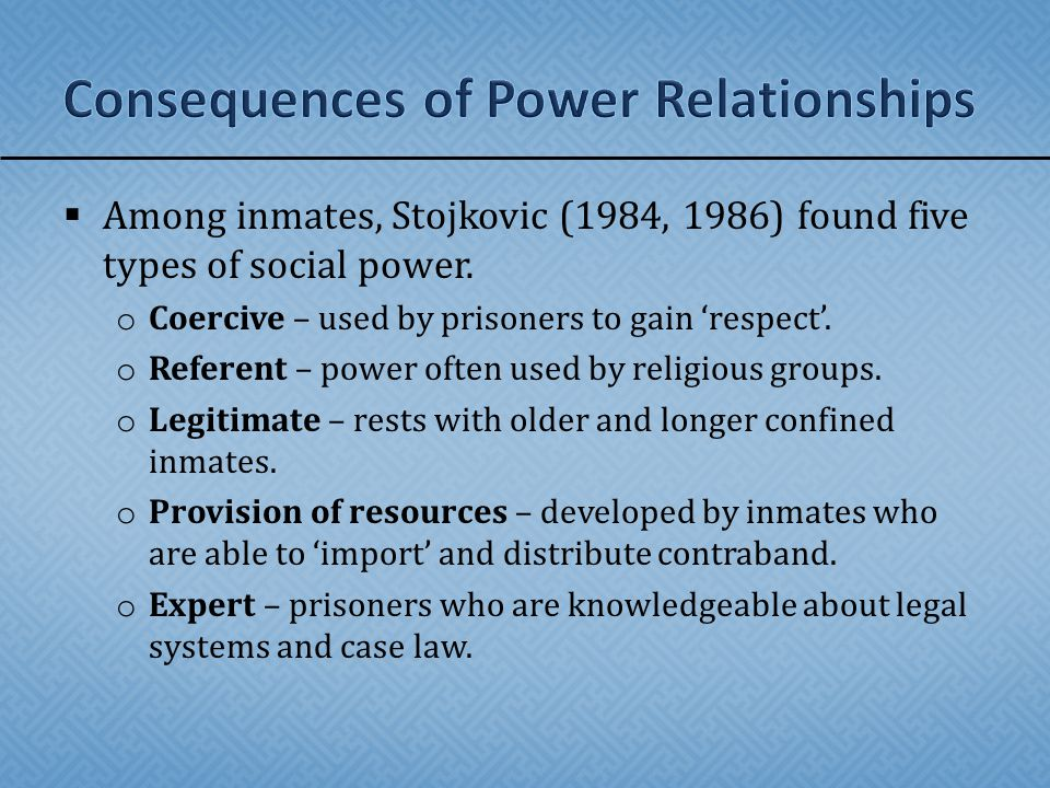  Among inmates, Stojkovic (1984, 1986) found five types of social power.