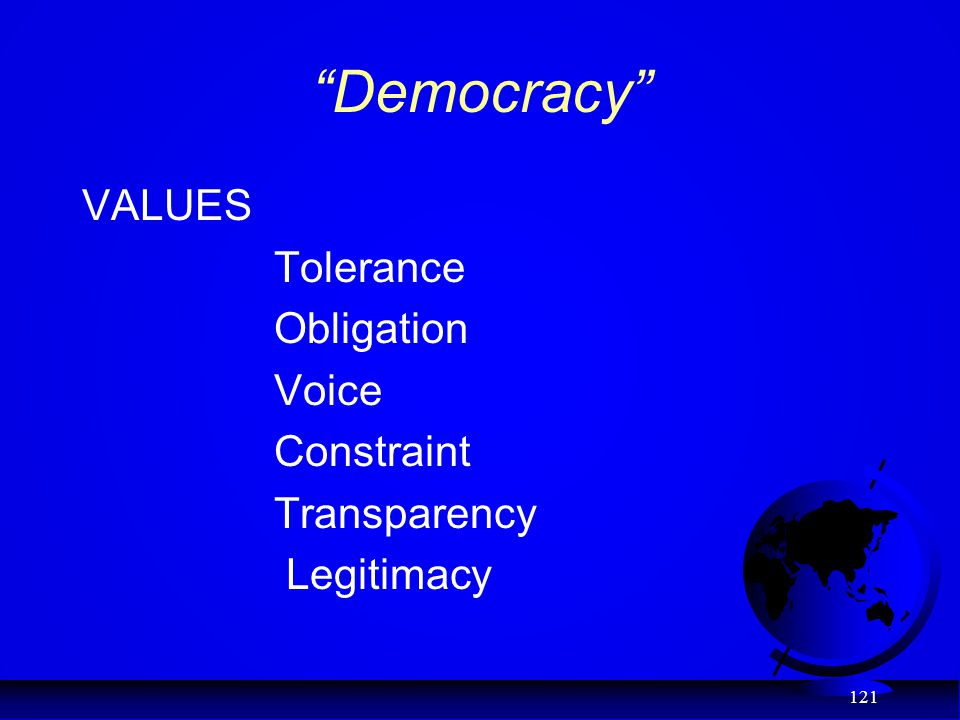 """Democracy"" VALUES Tolerance Obligation Voice Constraint Transparency Legitimacy 121"