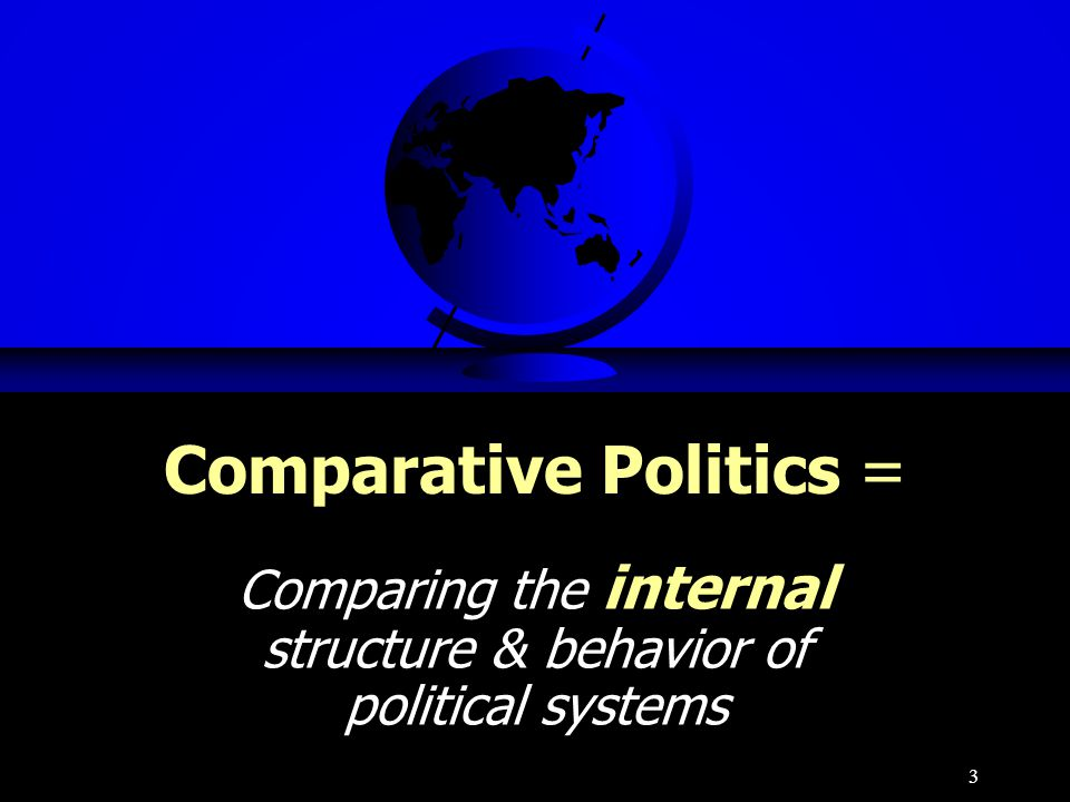 3 Comparative Politics = Comparing the internal structure & behavior of political systems