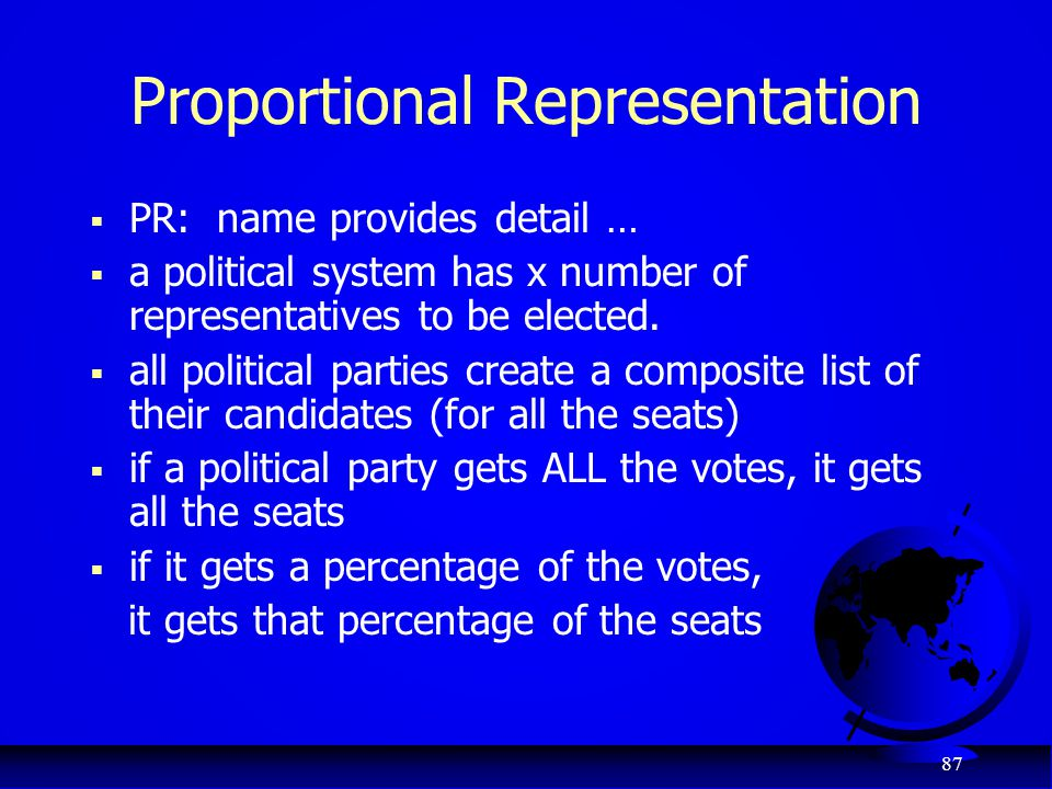 87 Proportional Representation  PR: name provides detail …  a political system has x number of representatives to be elected.  all political partie