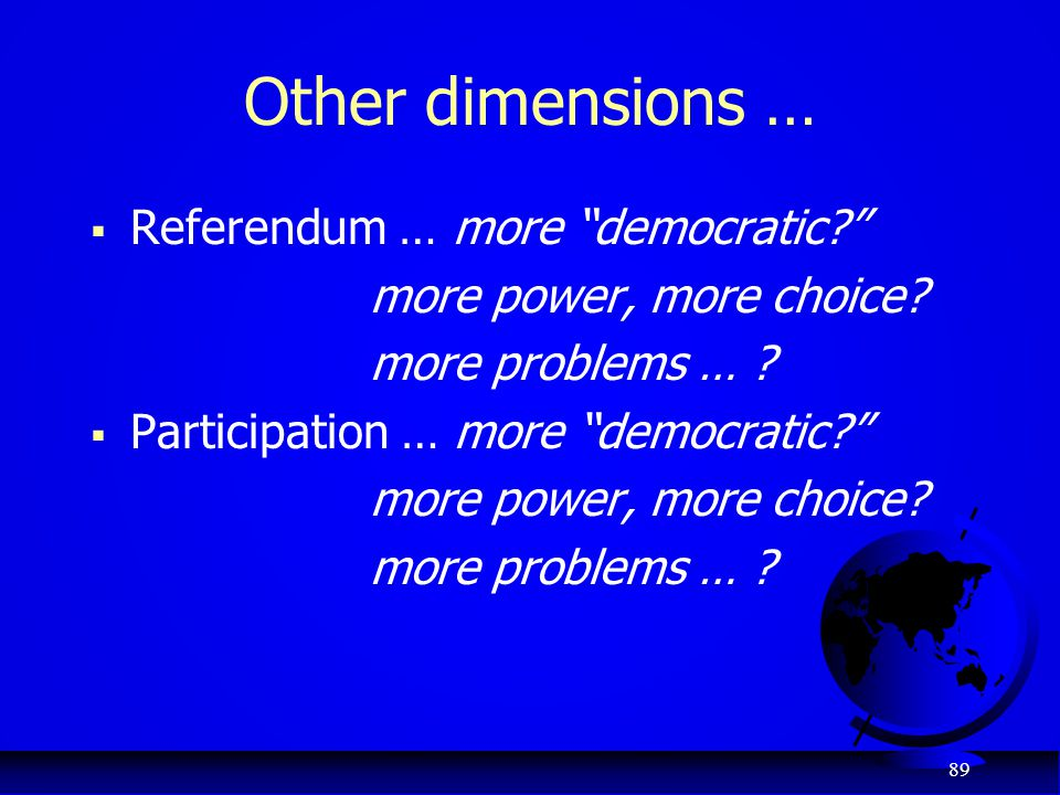 "89 Other dimensions …  Referendum … more ""democratic?"" more power, more choice? more problems … ?  Participation … more ""democratic?"" more power, mo"