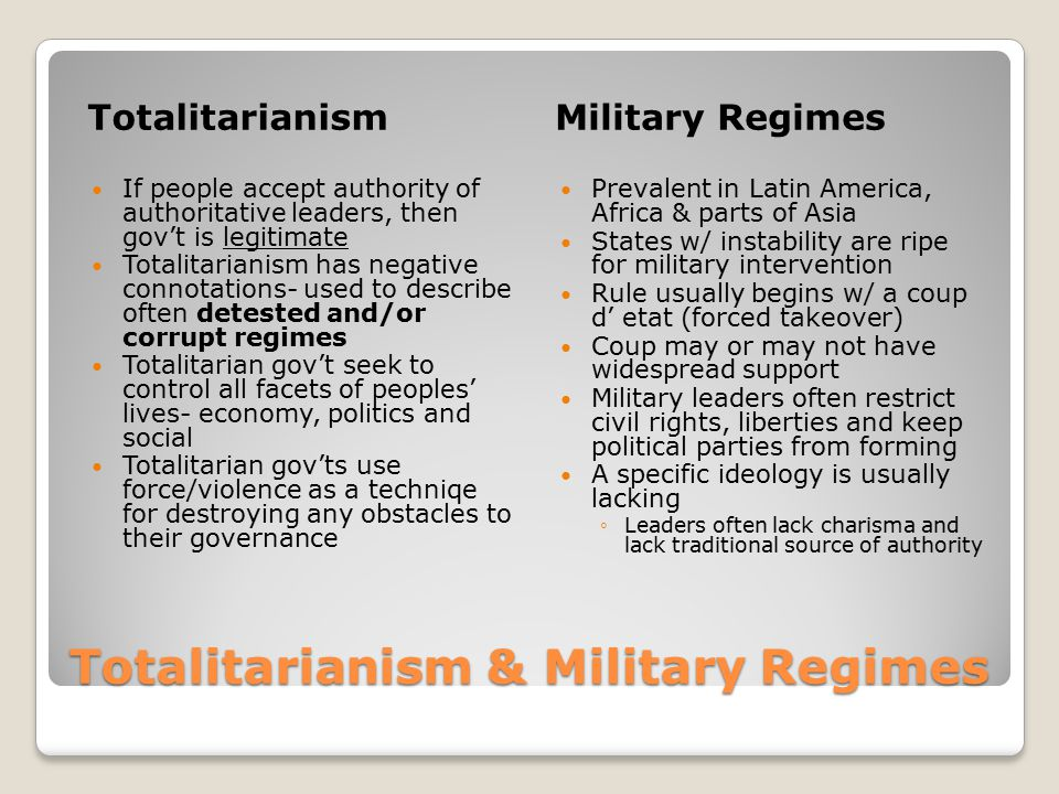 Totalitarianism & Military Regimes TotalitarianismMilitary Regimes If people accept authority of authoritative leaders, then gov't is legitimate Totalitarianism has negative connotations- used to describe often detested and/or corrupt regimes Totalitarian gov't seek to control all facets of peoples' lives- economy, politics and social Totalitarian gov'ts use force/violence as a techniqe for destroying any obstacles to their governance Prevalent in Latin America, Africa & parts of Asia States w/ instability are ripe for military intervention Rule usually begins w/ a coup d' etat (forced takeover) Coup may or may not have widespread support Military leaders often restrict civil rights, liberties and keep political parties from forming A specific ideology is usually lacking ◦Leaders often lack charisma and lack traditional source of authority