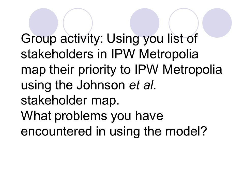 Group activity: Using you list of stakeholders in IPW Metropolia map their priority to IPW Metropolia using the Johnson et al.