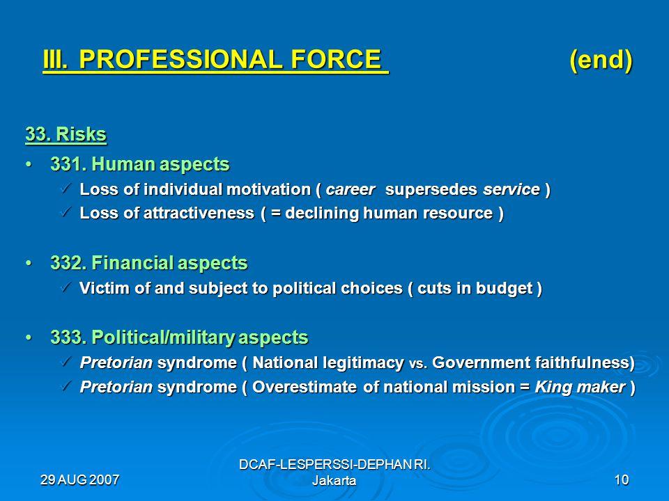 29 AUG 2007 DCAF-LESPERSSI-DEPHAN RI. Jakarta10 III. PROFESSIONAL FORCE (end) 33. Risks 331. Human aspects331. Human aspects Loss of individual motiva