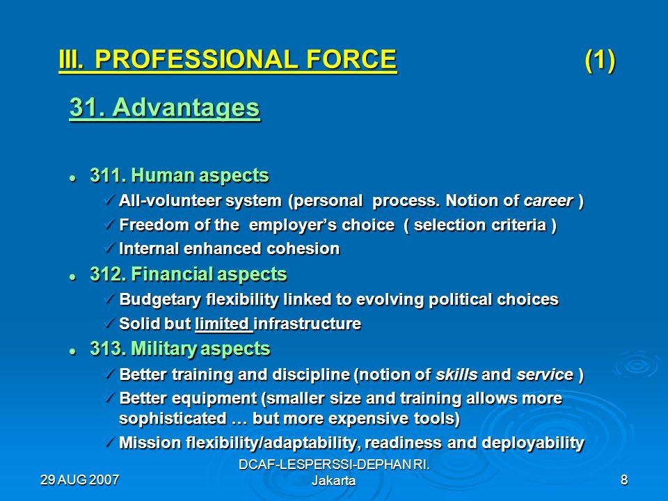29 AUG 2007 DCAF-LESPERSSI-DEPHAN RI. Jakarta8 III. PROFESSIONAL FORCE (1) 31. Advantages 311. Human aspects 311. Human aspects All-volunteer system (