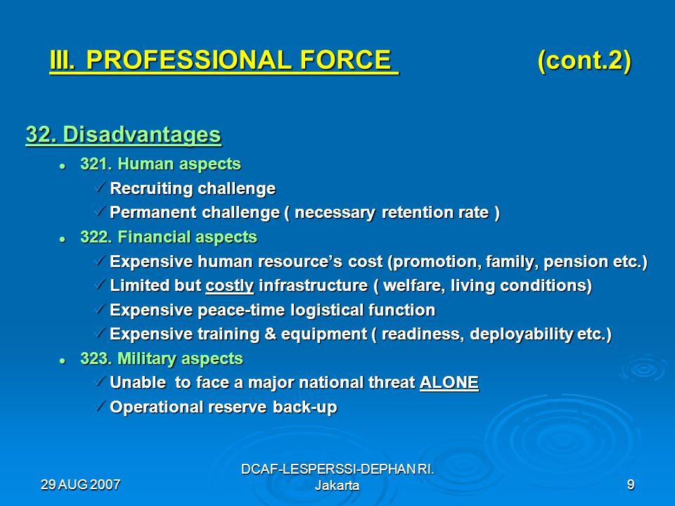 29 AUG 2007 DCAF-LESPERSSI-DEPHAN RI. Jakarta9 III. PROFESSIONAL FORCE (cont.2) 32. Disadvantages 321. Human aspects 321. Human aspects Recruiting cha