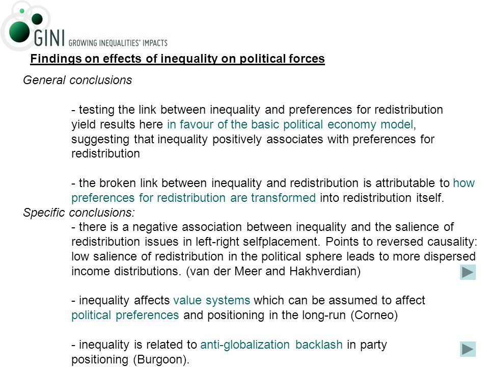 General conclusions - testing the link between inequality and preferences for redistribution yield results here in favour of the basic political economy model, suggesting that inequality positively associates with preferences for redistribution - the broken link between inequality and redistribution is attributable to how preferences for redistribution are transformed into redistribution itself.