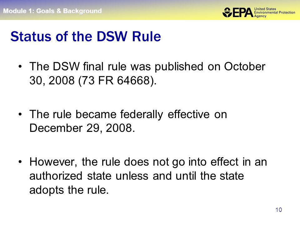 10 The DSW final rule was published on October 30, 2008 (73 FR 64668).