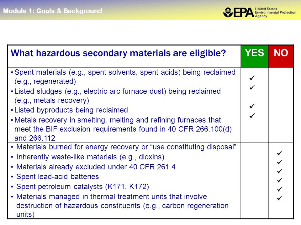 11 What hazardous secondary materials are eligible? YESNO Spent materials (e.g., spent solvents, spent acids) being reclaimed (e.g., regenerated) List