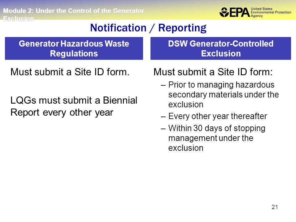 21 Must submit a Site ID form. LQGs must submit a Biennial Report every other year Must submit a Site ID form: –Prior to managing hazardous secondary