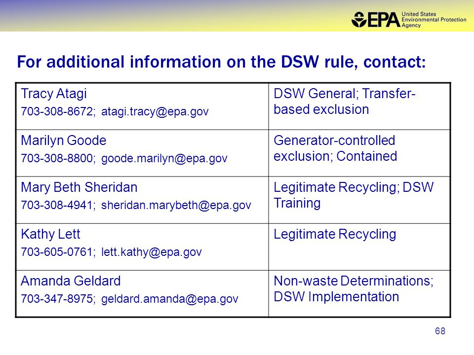 68 For additional information on the DSW rule, contact: Tracy Atagi 703-308-8672; atagi.tracy@epa.gov DSW General; Transfer- based exclusion Marilyn Goode 703-308-8800; goode.marilyn@epa.gov Generator-controlled exclusion; Contained Mary Beth Sheridan 703-308-4941; sheridan.marybeth@epa.gov Legitimate Recycling; DSW Training Kathy Lett 703-605-0761; lett.kathy@epa.gov Legitimate Recycling Amanda Geldard 703-347-8975; geldard.amanda@epa.gov Non-waste Determinations; DSW Implementation