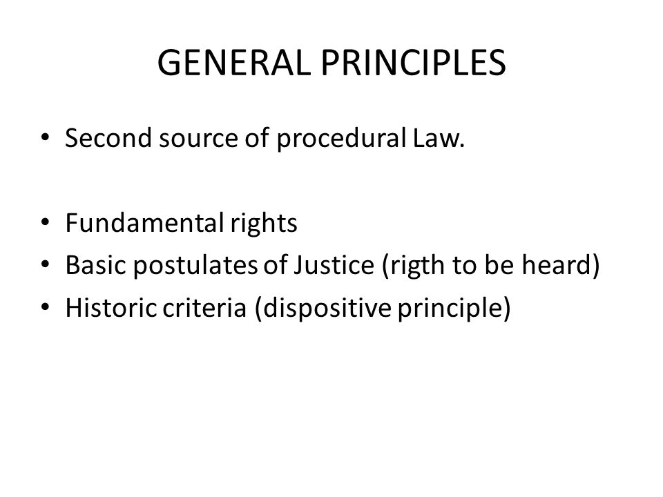 GENERAL PRINCIPLES Second source of procedural Law.