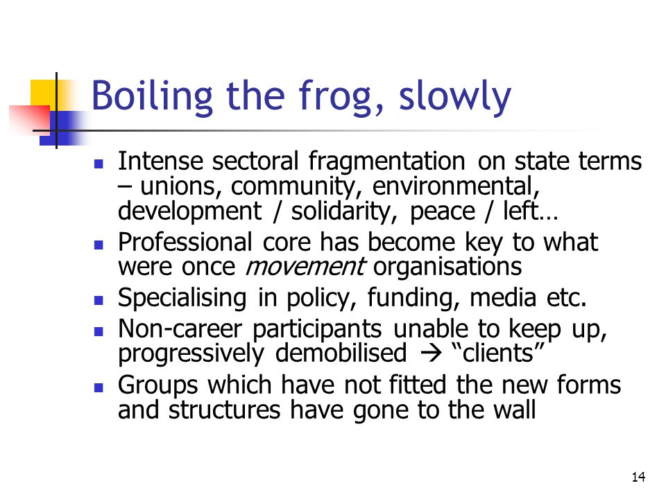 14 Boiling the frog, slowly Intense sectoral fragmentation on state terms – unions, community, environmental, development / solidarity, peace / left… Professional core has become key to what were once movement organisations Specialising in policy, funding, media etc.