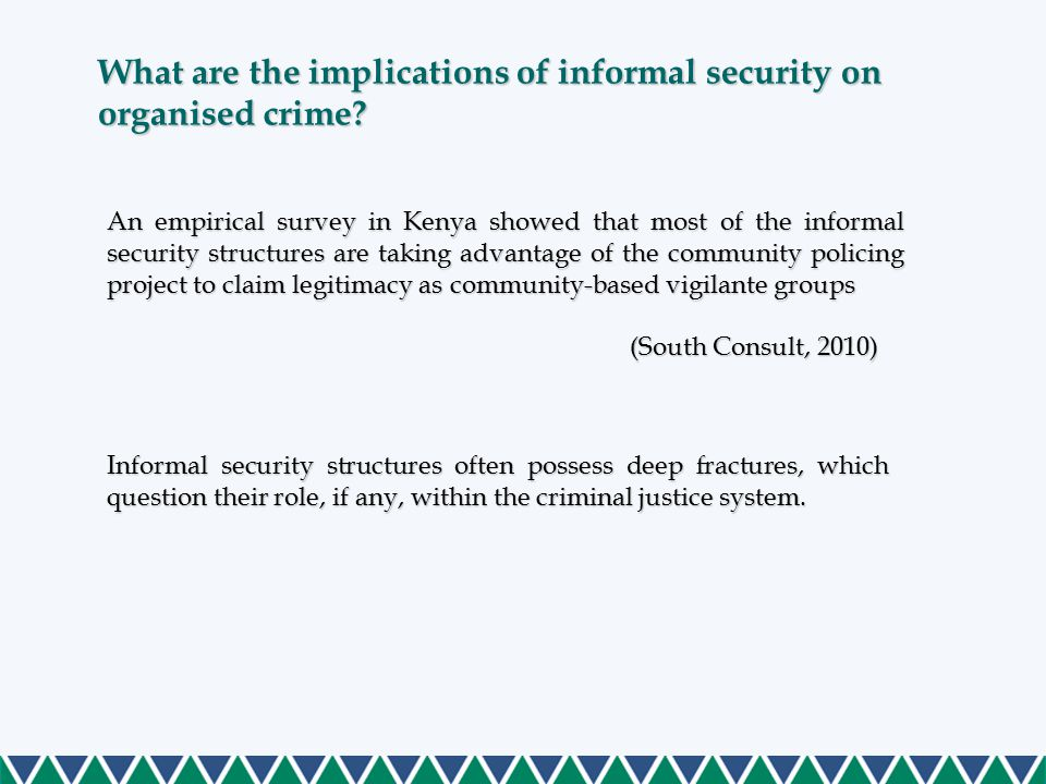 What are the implications of informal security on organised crime.
