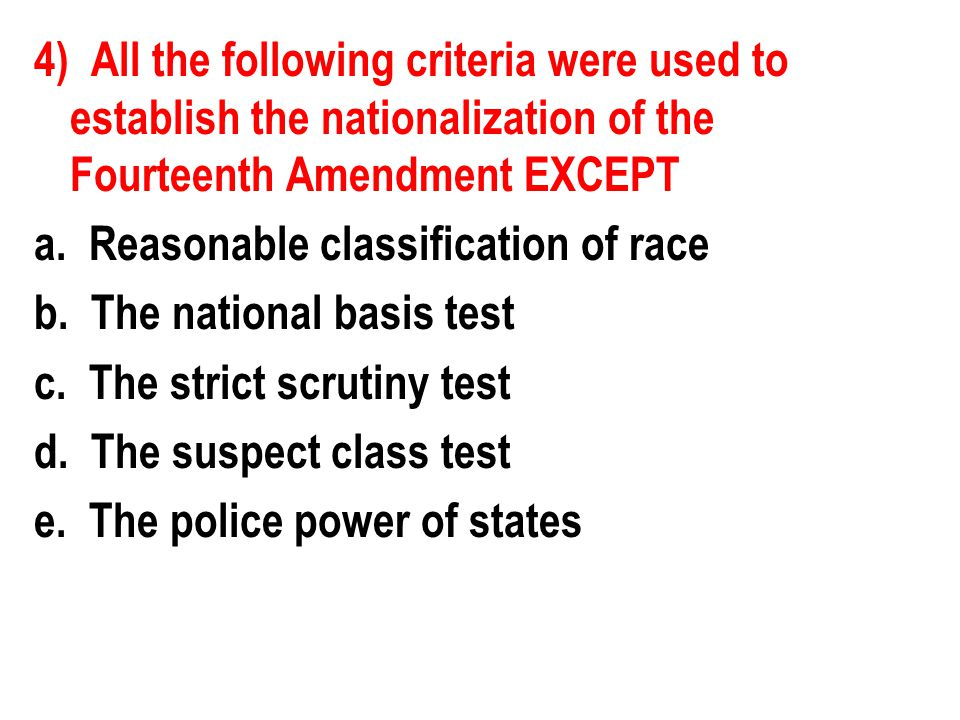 12) Discrimination in the workplace has been made illegal by all the following EXCEPT a.