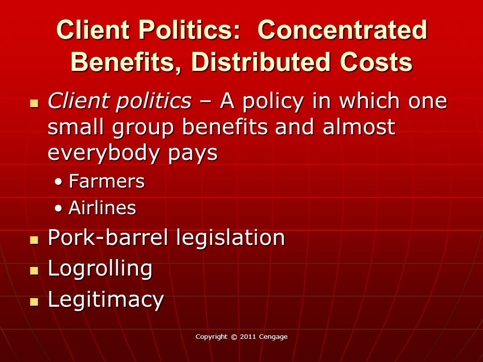 Client Politics: Concentrated Benefits, Distributed Costs Client politics – A policy in which one small group benefits and almost everybody pays Client politics – A policy in which one small group benefits and almost everybody pays FarmersFarmers AirlinesAirlines Pork-barrel legislation Pork-barrel legislation Logrolling Logrolling Legitimacy Legitimacy Copyright © 2011 Cengage