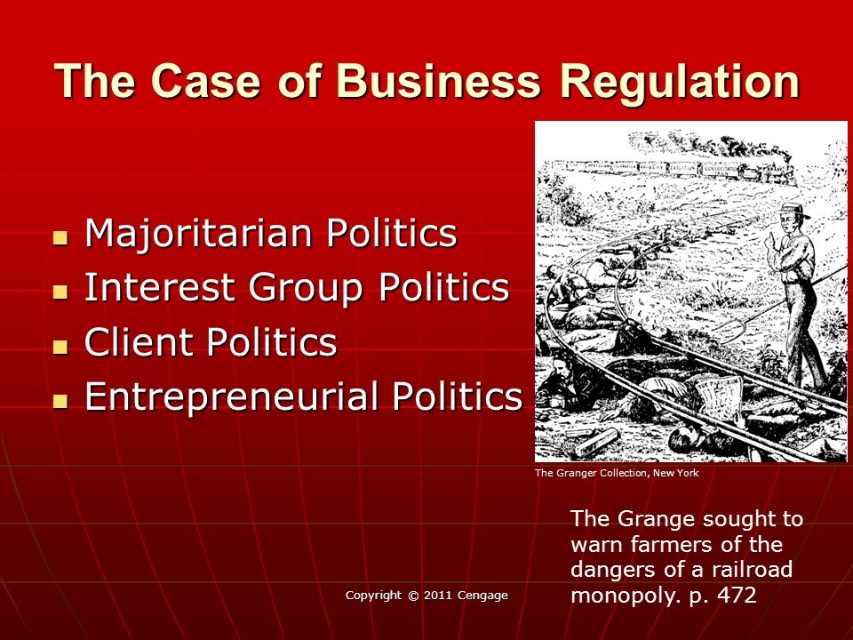 The Case of Business Regulation Majoritarian Politics Majoritarian Politics Interest Group Politics Interest Group Politics Client Politics Client Politics Entrepreneurial Politics Entrepreneurial Politics Copyright © 2011 Cengage The Grange sought to warn farmers of the dangers of a railroad monopoly.