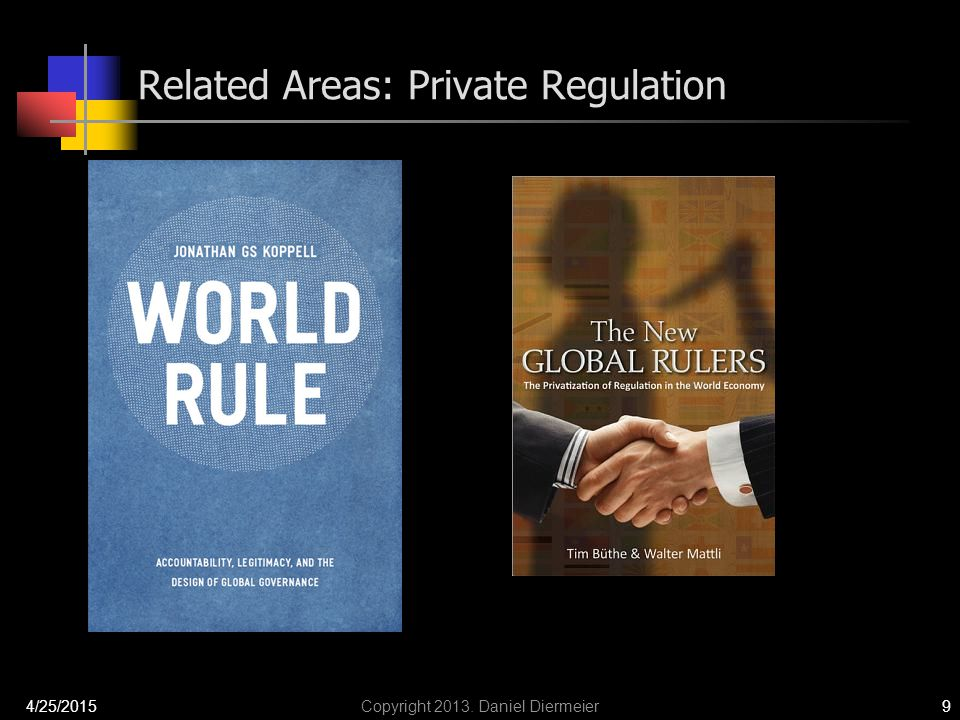Related Areas: Private Regulation 4/25/2015Copyright 2013. Daniel Diermeier9