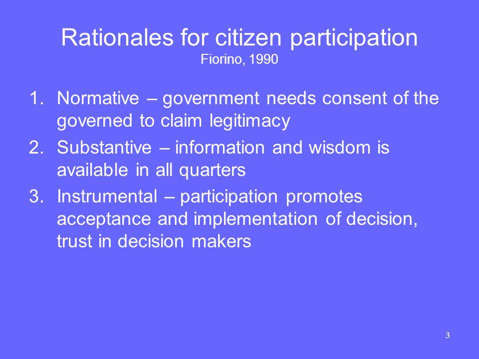 4 Ladder of Citizen Participation Arnstein 1969 Pre-1970s 1970-2000 2000+ ?