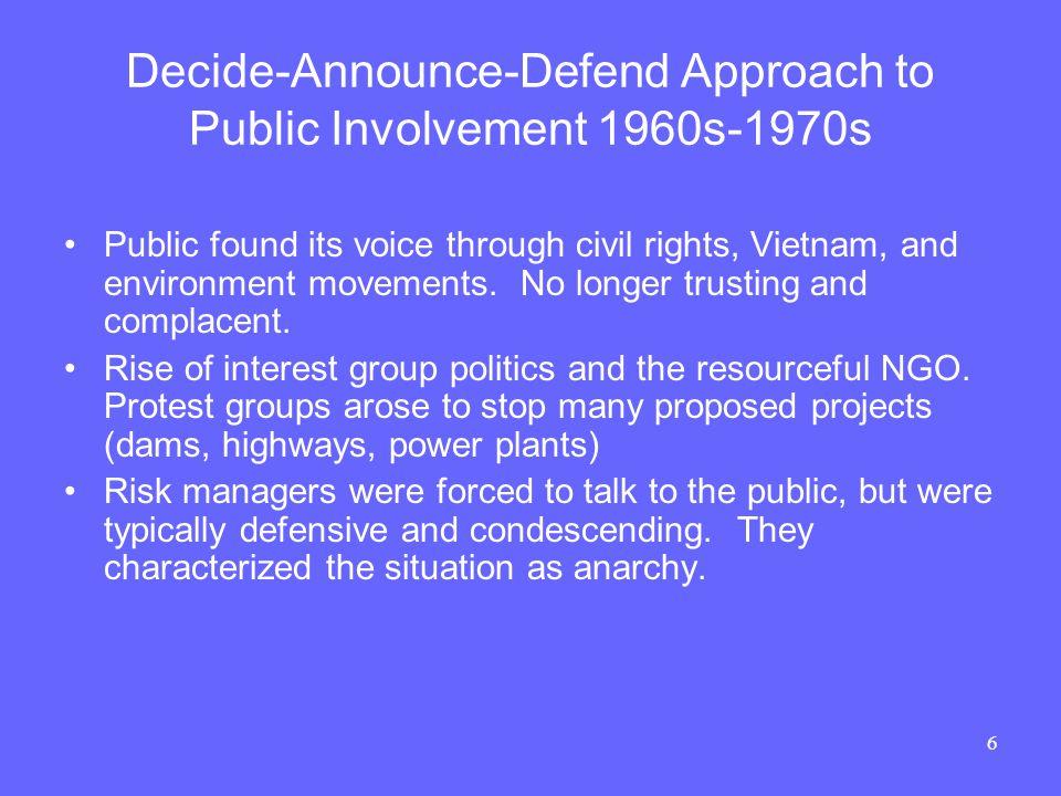 17 Analytic-Deliberative Process for Risk Management NRC, Understanding Risk… 1996