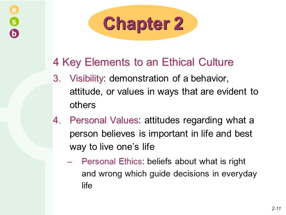 e s b 4 Key Elements to an Ethical Culture 3.Visibility 3.Visibility: demonstration of a behavior, attitude, or values in ways that are evident to others 4.Personal Values 4.Personal Values: attitudes regarding what a person believes is important in life and best way to live one's life –Personal Ethics –Personal Ethics: beliefs about what is right and wrong which guide decisions in everyday life Chapter 2 2-11