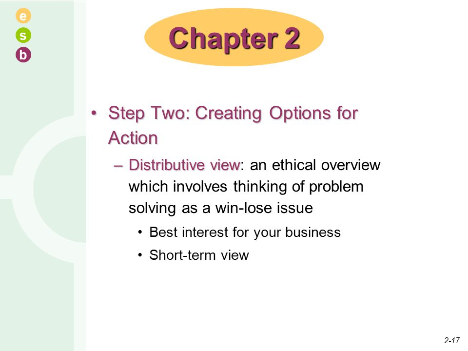 e s b Step Two: Creating Options for ActionStep Two: Creating Options for Action –Distributive view –Distributive view: an ethical overview which involves thinking of problem solving as a win-lose issue Best interest for your business Short-term view Chapter 2 2-17