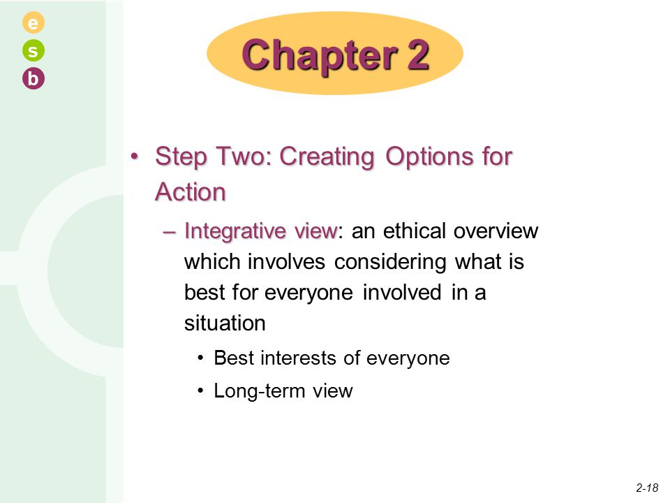 e s b Step Two: Creating Options for ActionStep Two: Creating Options for Action –Integrative view –Integrative view: an ethical overview which involves considering what is best for everyone involved in a situation Best interests of everyone Long-term view Chapter 2 2-18