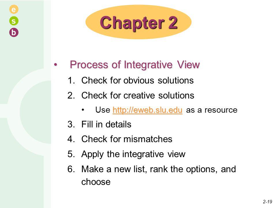 e s b Chapter 2 Process of Integrative ViewProcess of Integrative View 1.Check for obvious solutions 2.Check for creative solutions http://eweb.slu.ed