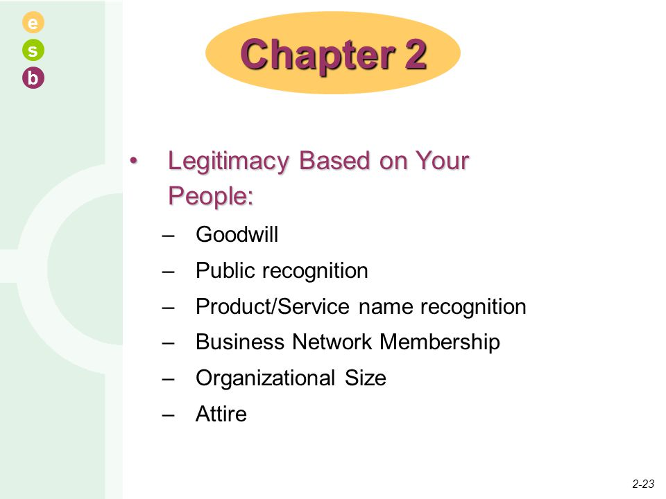e s b Legitimacy Based on Your People:Legitimacy Based on Your People: –Goodwill –Public recognition –Product/Service name recognition –Business Network Membership –Organizational Size –Attire Chapter 2 2-23