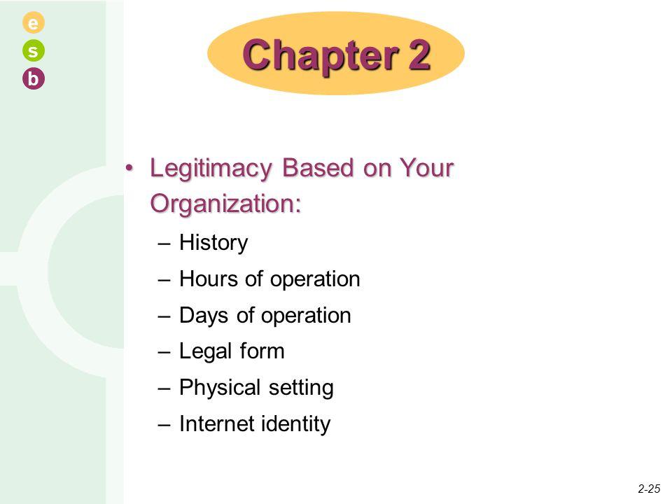 e s b Legitimacy Based on Your Organization:Legitimacy Based on Your Organization: –History –Hours of operation –Days of operation –Legal form –Physic