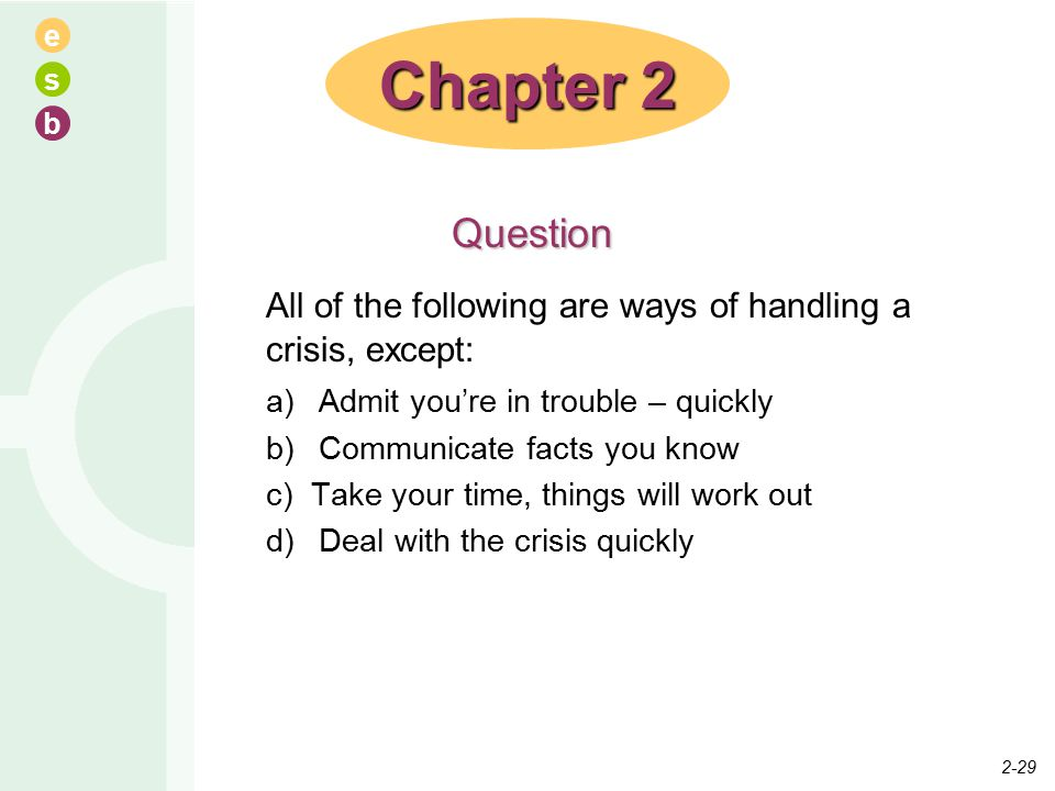 e s b All of the following are ways of handling a crisis, except: a) Admit you're in trouble – quickly b) Communicate facts you know c) Take your time, things will work out d) Deal with the crisis quickly Chapter 2 Question 2-29