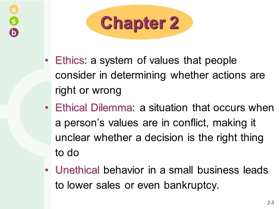 e s b EthicsEthics: a system of values that people consider in determining whether actions are right or wrong Ethical DilemmaEthical Dilemma: a situation that occurs when a person's values are in conflict, making it unclear whether a decision is the right thing to do UnethicalUnethical behavior in a small business leads to lower sales or even bankruptcy.