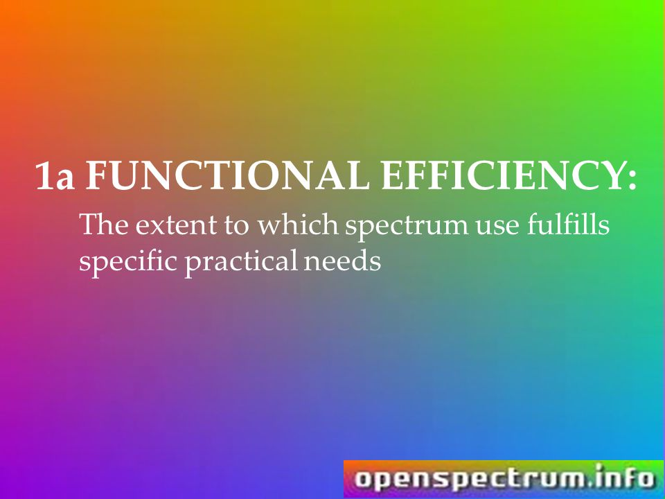 1a FUNCTIONAL EFFICIENCY: The extent to which spectrum use fulfills specific practical needs