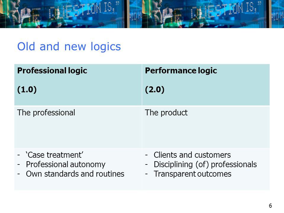 6 Old and new logics Professional logic (1.0) Performance logic (2.0) The professionalThe product -'Case treatment' -Professional autonomy -Own standa