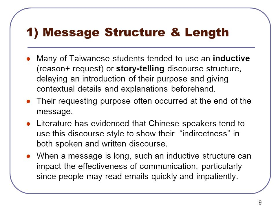 10 Example 1 – Message structure & Length Dear Professor H, This is K.C.