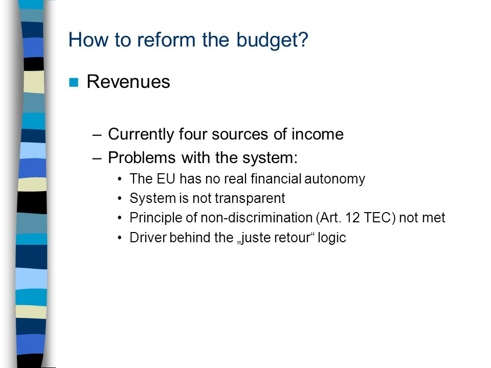 How to reform the budget.