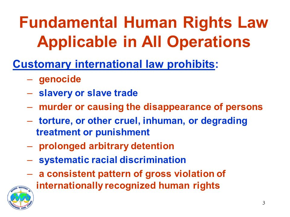 3 Fundamental Human Rights Law Applicable in All Operations Customary international law prohibits: – genocide – slavery or slave trade – murder or causing the disappearance of persons – torture, or other cruel, inhuman, or degrading treatment or punishment – prolonged arbitrary detention – systematic racial discrimination – a consistent pattern of gross violation of internationally recognized human rights