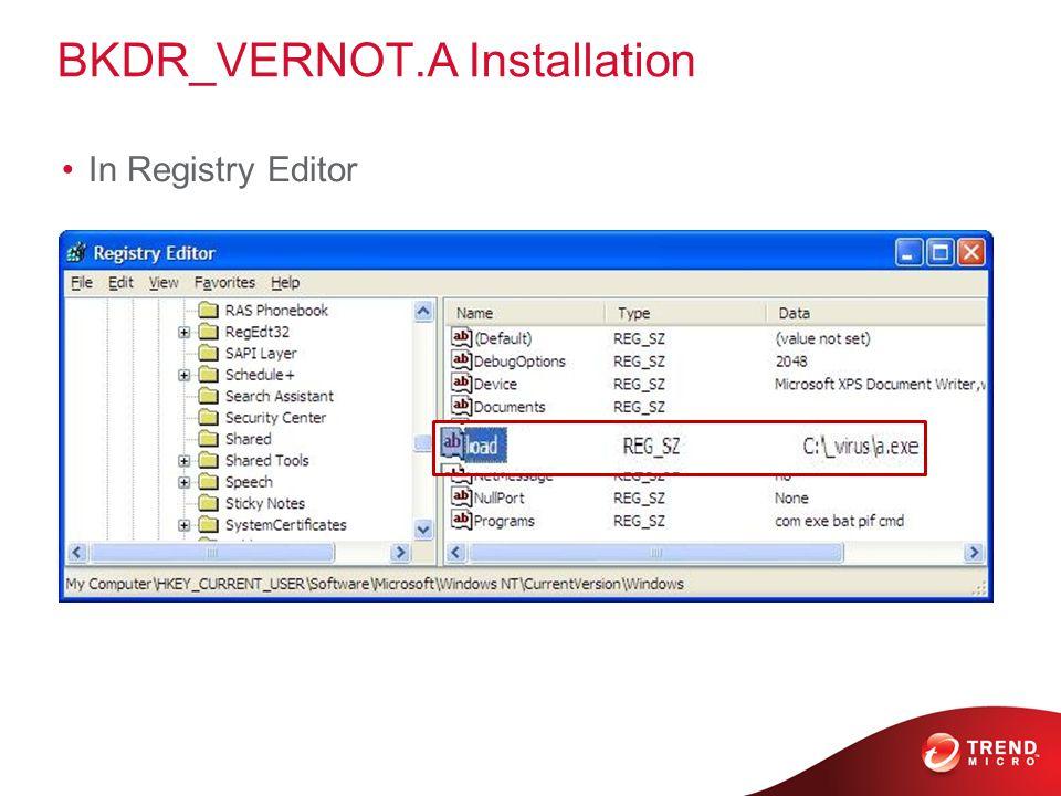 BKDR_VERNOT.A Installation In Registry Editor