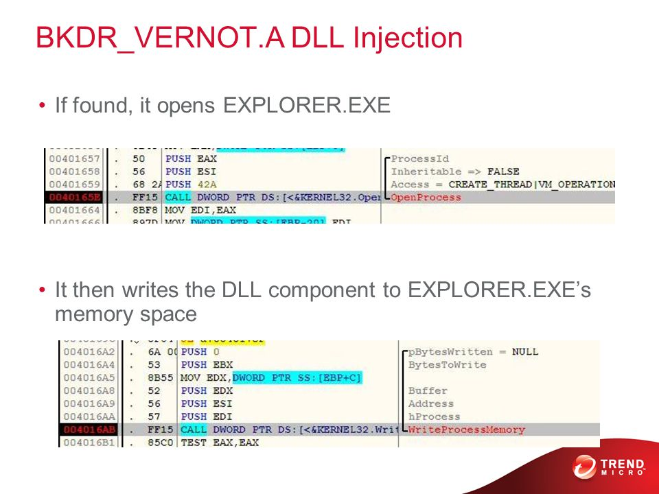 BKDR_VERNOT.A DLL Injection If found, it opens EXPLORER.EXE It then writes the DLL component to EXPLORER.EXE's memory space