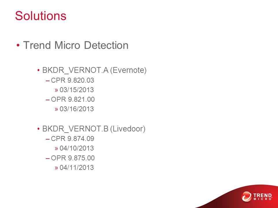Solutions Trend Micro Detection BKDR_VERNOT.A (Evernote) –CPR 9.820.03 »03/15/2013 –OPR 9.821.00 »03/16/2013 BKDR_VERNOT.B (Livedoor) –CPR 9.874.09 »04/10/2013 –OPR 9.875.00 »04/11/2013