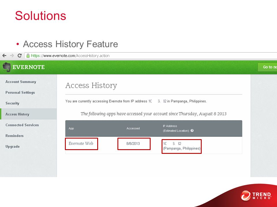 Solutions Access History Feature