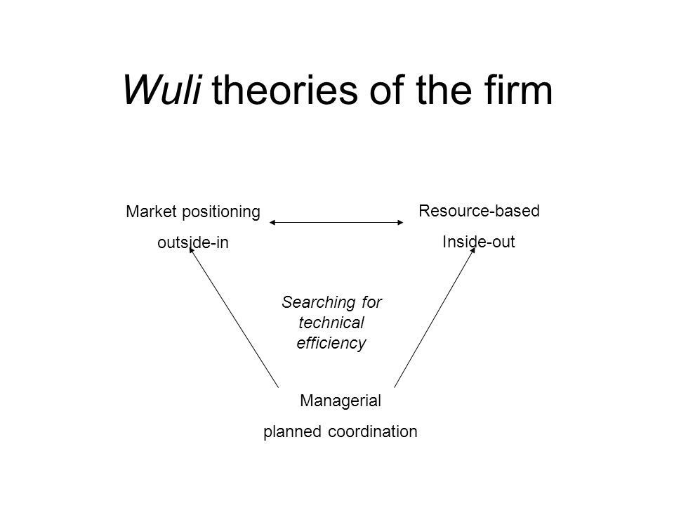 Wuli theories of the firm Market positioning outside-in Resource-based Inside-out Managerial planned coordination Searching for technical efficiency