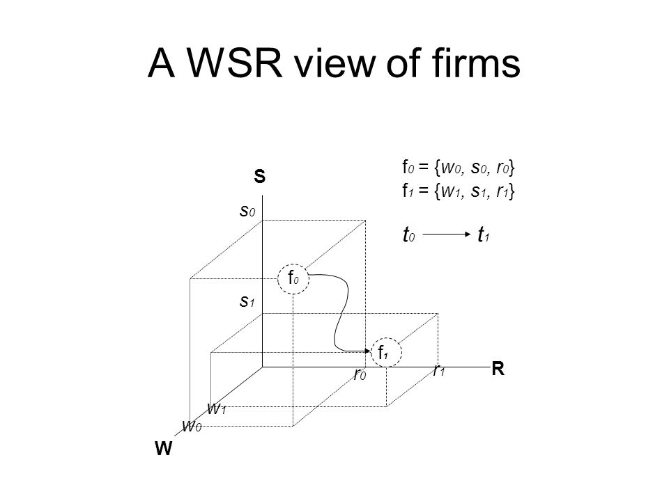 A WSR view of firms f 0 = {w 0, s 0, r 0 } f 1 = {w 1, s 1, r 1 } W S R f0f0 f1f1 w0w0 s0s0 r0r0 w1w1 s1s1 r1r1 t0t0 t1t1