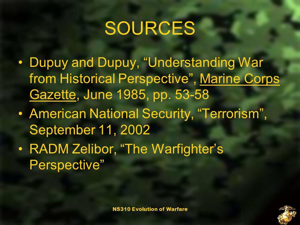 NS310 Evolution of Warfare Questions?
