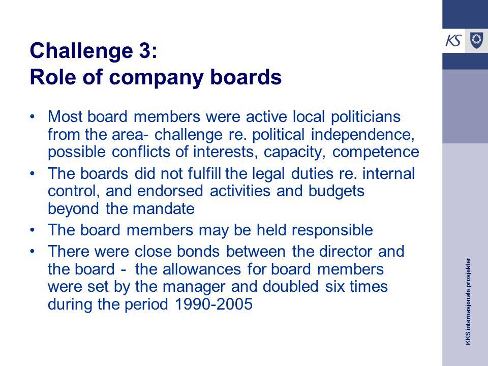 KKS internasjonale prosjekter Challenge 3: Role of company boards Most board members were active local politicians from the area- challenge re.