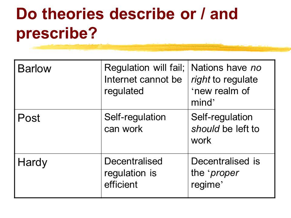 Do theories describe or / and prescribe.