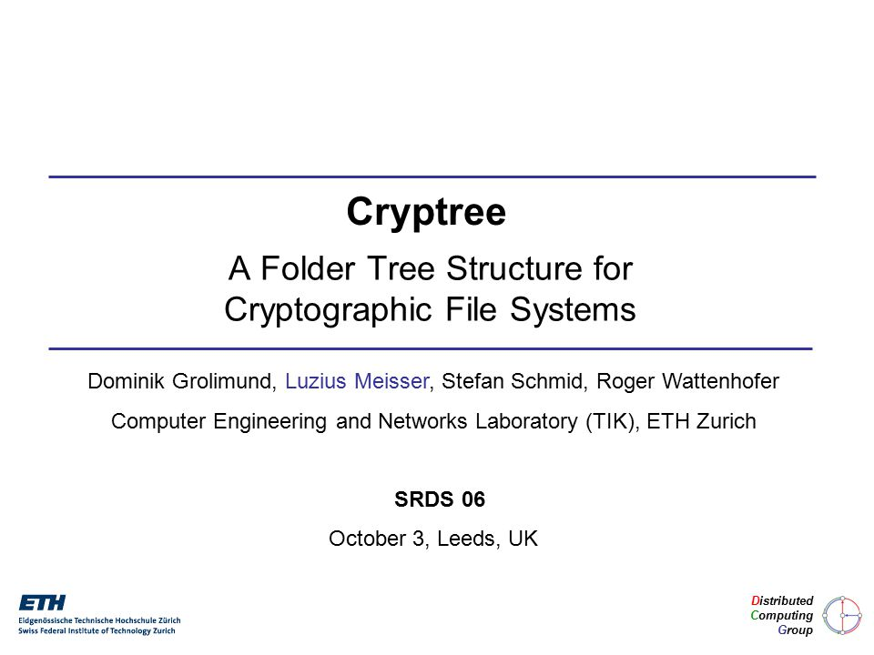 12 / 25 Cryptree: Semantics Dynamic Inheritance of Access Rights Downwards: full, recursive Upwards: limited, ancestor names