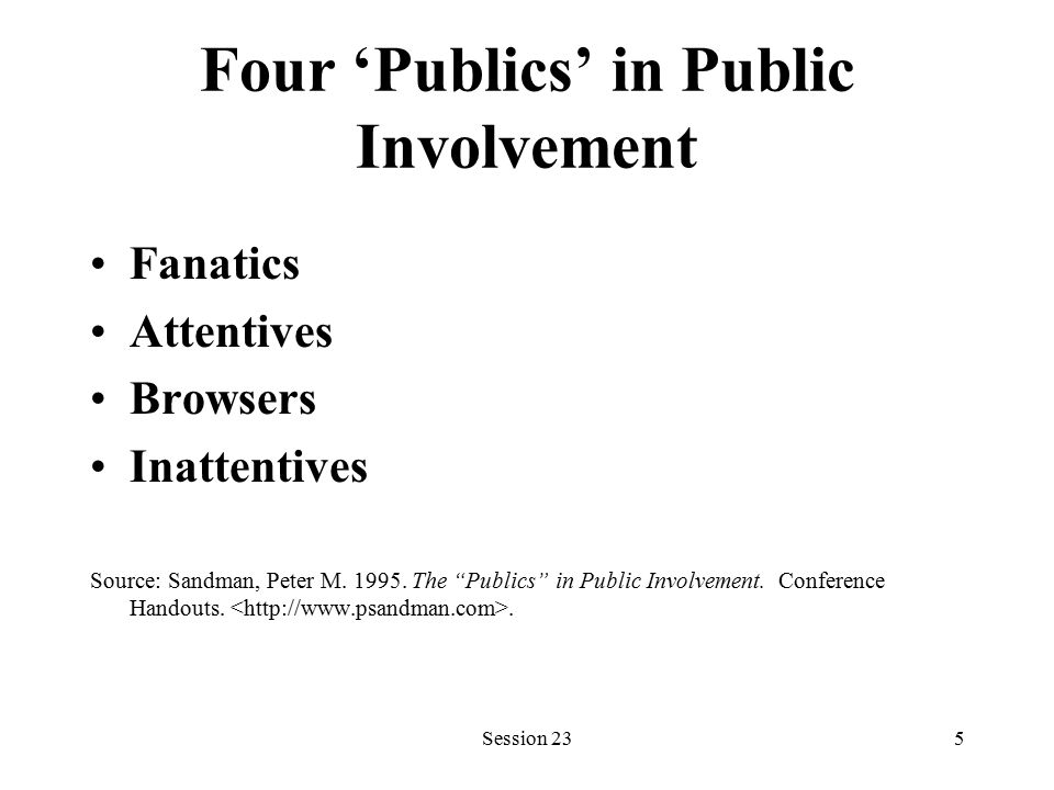 Session 235 Four 'Publics' in Public Involvement Fanatics Attentives Browsers Inattentives Source: Sandman, Peter M.