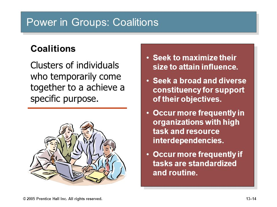 © 2005 Prentice Hall Inc. All rights reserved.13–14 Power in Groups: Coalitions Seek to maximize their size to attain influence. Seek a broad and dive