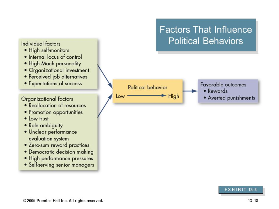 © 2005 Prentice Hall Inc. All rights reserved.13–18 Factors That Influence Political Behaviors E X H I B I T 13–4